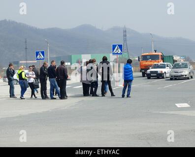 Les étudiants en attente d'un examen de conduite dans une école de conduite en Russie Banque D'Images
