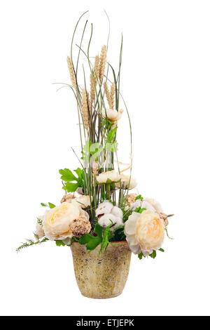 Bouquet De Fleurs De Pivoine Boules De Coton Et Des Epis De Ble En