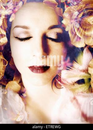 Montage poétique d'un portrait de fleurs, Banque D'Images