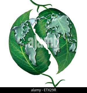 Monde leaf Water drop concept comme un groupe de liquide gouttes de pluie en forme de la carte de l'earrth sur feuilles Banque D'Images