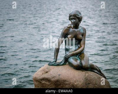 La Statue de la Petite Sirène au bord de l'eau à Copenhague, Danemark. Banque D'Images
