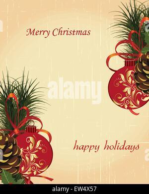 Carte de Noël Vintage rétro élégant décoré abstract floral design, avec des boules de fleurs rouge et or et les Banque D'Images