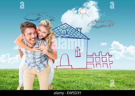 Image composite de handsome man giving piggy back pour sa petite amie Banque D'Images