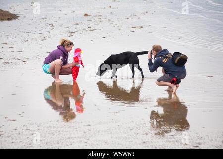 De l'homme, femme et bébé chien labrador noir à plage de Weymouth en Juin Banque D'Images