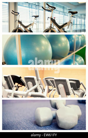 Image composite de vélos spin in fitness studio Banque D'Images