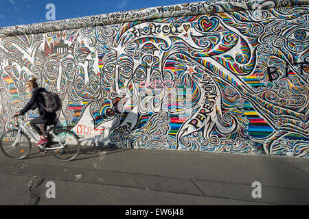 Mur de Berlin, East Side Gallery, Berlin, Allemagne Banque D'Images