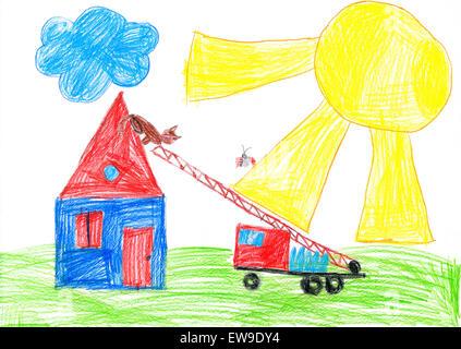 Camion À Incendie Sauvetage De Chat Maison Toit. Enfant Dessin