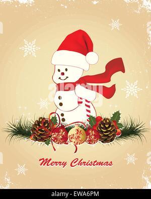 Carte de Noël Vintage rétro élégant décoré abstract floral design, avec bonhomme rouge Santa hat and scarf avec Banque D'Images