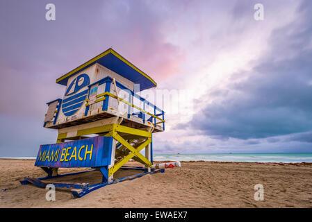 Miami Beach, Floride, USA life tour de garde. Banque D'Images