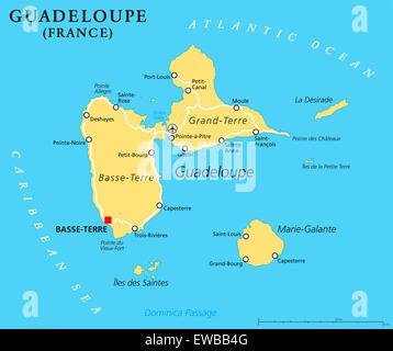 Carte Politique de la Guadeloupe Basse-Terre, capitale de région d'outre-mer de la France dans les îles sous le vent, une partie de Petites Antilles.