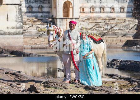 Chevaux Marwari. Cheval blanc dominant décoré en or, argent et bijoux debout à côté d'un couple en costume traditionnel. Banque D'Images