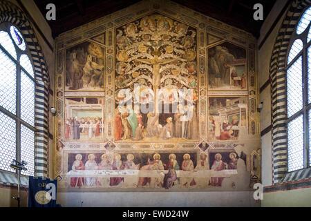 Peinture murale dans le vieux réfectoire, Basilica di Santa Croce, de la Basilique de la Sainte Croix, Florence, Banque D'Images