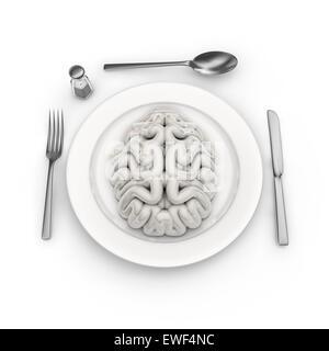 Matière à réflexion, de rendu 3D du cerveau humain servi sur la plaque Banque D'Images