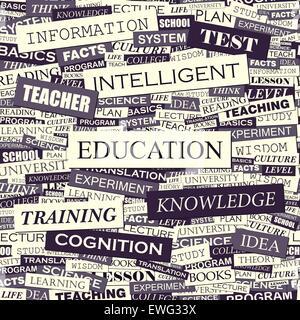 L'éducation. Modèle sans couture. Connexes Concept mots en nuage de tag. Info-graphique texte conceptuel. Collage Banque D'Images
