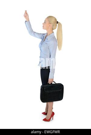 Femme d'affaires isolées faites glisser quelque chose