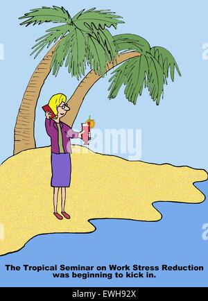Caricature d'affaires de l'île de Man, 'le tropical séminaire sur la réduction du stress travail commençait à coup Banque D'Images