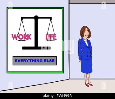 Caricature d'affaires de businesswoman standing in front un graphique qui illustre 'travail' 'vie' en équilibre Banque D'Images