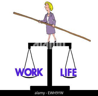 Caricature d'affaires de businesswoman en équilibre sur la balance qui pèse 'travail' et 'vie'. Banque D'Images