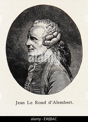 Gravure/Portrait de Jean-Baptiste le Rond d'Alembert, célèbre mathématicien, physicien du 18ème siècle, philosophe, Banque D'Images