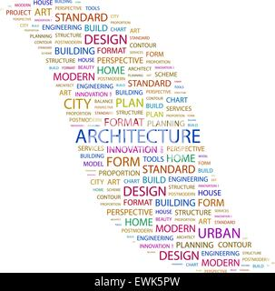 L'ARCHITECTURE. Word cloud concept illustration. Wordcloud collage. Banque D'Images