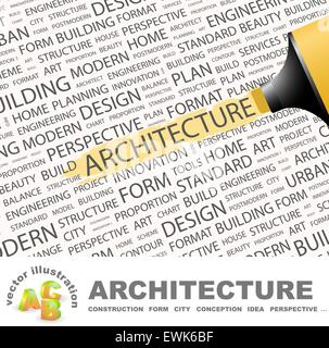 L'ARCHITECTURE. Concept illustration. Tag graphique collection. Wordcloud collage. Banque D'Images