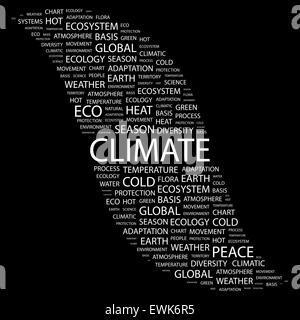 Le climat. Concept illustration. Tag graphique collection. Wordcloud collage. Banque D'Images