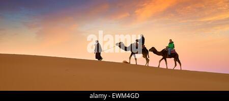 Caravane de chameaux, désert Erg Chebbi près de Merzouga, Sahara, Maroc Banque D'Images