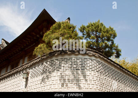 L'architecture de style traditionnel coréen à hanok , Corée du Sud. Banque D'Images