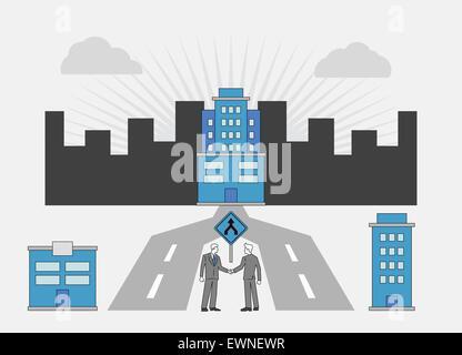 Image conceptuelle qui représente la fusion de deux sociétés Banque D'Images