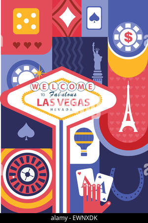 Collage d'illustration de casino et les repères à Las Vegas, USA Banque D'Images