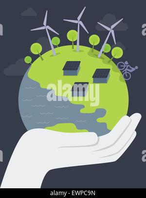 Image d'illustration de human hand holding globe représentant les concepts d'économiser la terre Banque D'Images