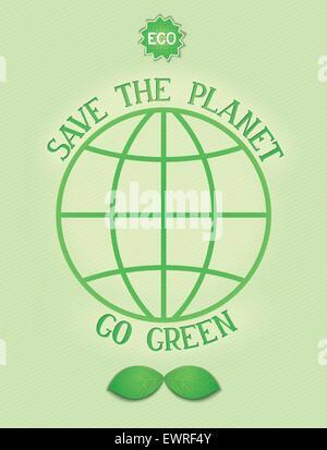 Affiche - conceptuel environnement Sauver la planète, passez au vert. Vector EPS 10 Banque D'Images