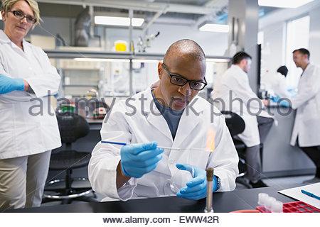 À l'aide d'un scientifique en laboratoire au bec Bunsen Banque D'Images