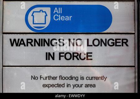 Panneau d'avertissement d'inondation, Lewes, dans le Sussex, UK Banque D'Images
