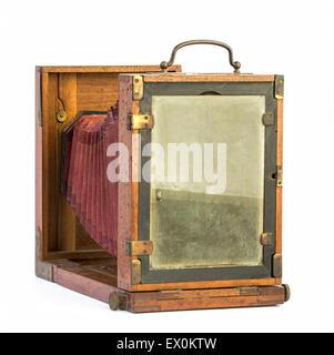 Vieux bois photographique voir l'appareil photo d'une marque qui n'existe plus. Banque D'Images