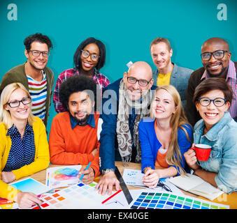 Connexion d'entreprise réunion Designer Creativity Concept Banque D'Images