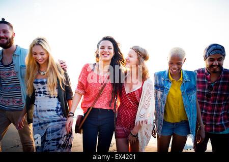 Collage d'amitié été plage détente Concept Bonheur Banque D'Images