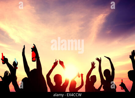 Les gens célébration Fête sur la plage des vacances Vacances Banque D'Images