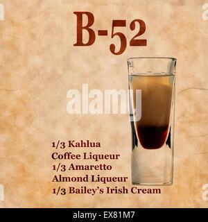 Vieux,vintage grunge ou ordinateur portable avec recette cocktail B-52 sur la page.Prix pour le texte