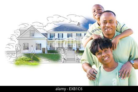 Happy African American Family House sur Dessin et Photo Combinaison sur blanc. Banque D'Images