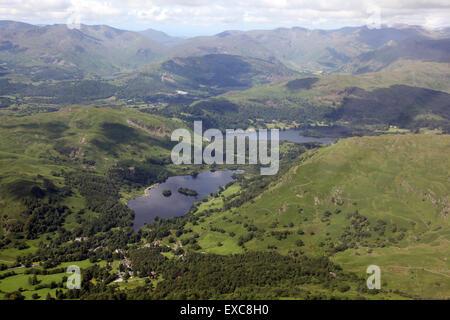Vue aérienne de Rydal Water & Grasmere dans le Lake District, Cumbria, Royaume-Uni