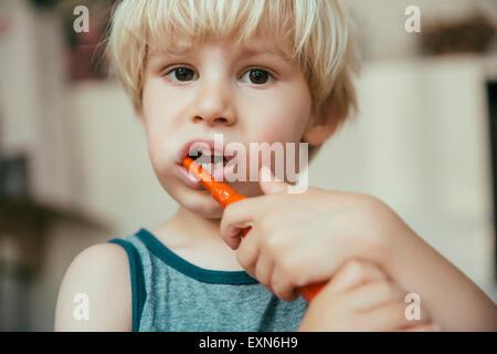 Portrait de petit garçon se brosser les dents avec une brosse à dents électrique Banque D'Images