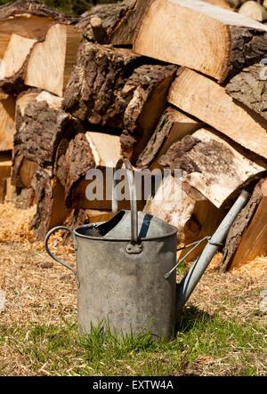 Un arrosoir en métal à côté d'une pile de grumes, haché Banque D'Images