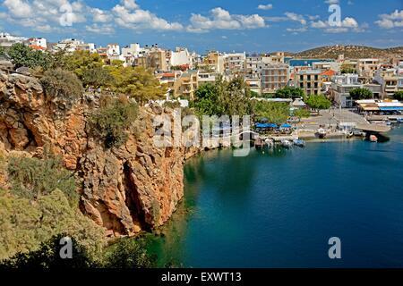 Lac Voulismeni, Agios Nikolaos, Crète, Grèce, Europe Banque D'Images