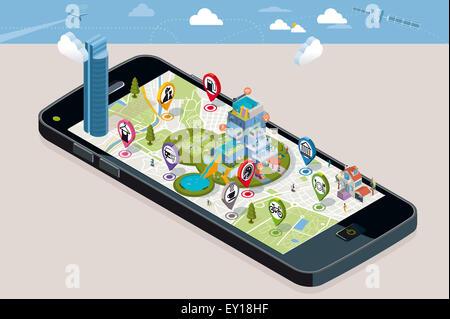 Carte de la ville avec les broches et une maison intelligente. Téléphone intelligent. Sur l'écran il une carte vectorielle Banque D'Images