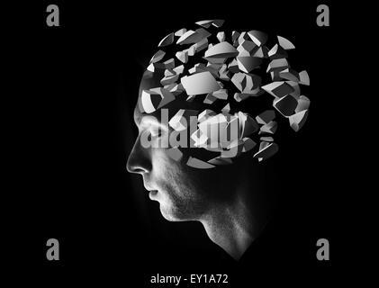 Profil de tête masculine avec 3d'explosion des fragments de cerveau sur fond noir Banque D'Images