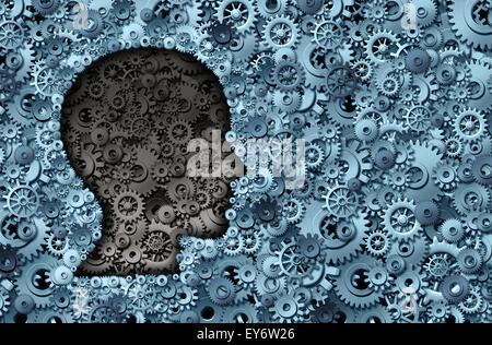 Machine d'intelligence et de cerveau humain comme une machine ou de la technologie de la pensée médicale neurologie symbole avec une forme de la tête faite de rouages et d'engrenages stratégie représentant l'activité neurologique psychologique et mental.