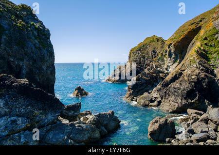 Rochers et pointe à meneau Cove, péninsule du Lézard, Cornwall, England, UK Banque D'Images