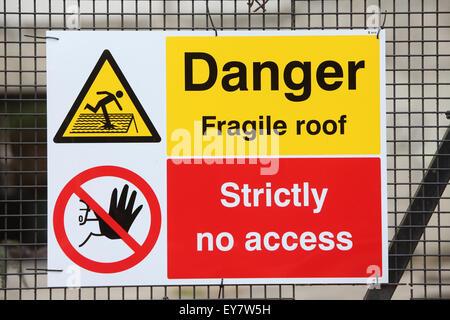 Danger fragile Toit Signal de sécurité