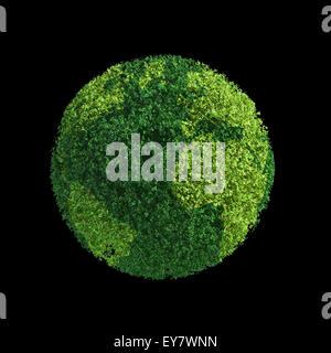 World globe constitué de feuilles vertes - ecology concept Banque D'Images